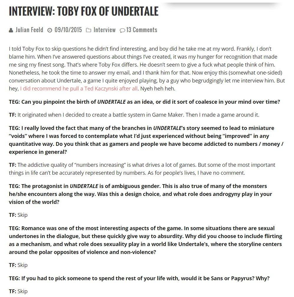 interview of toby fox dev of undertale