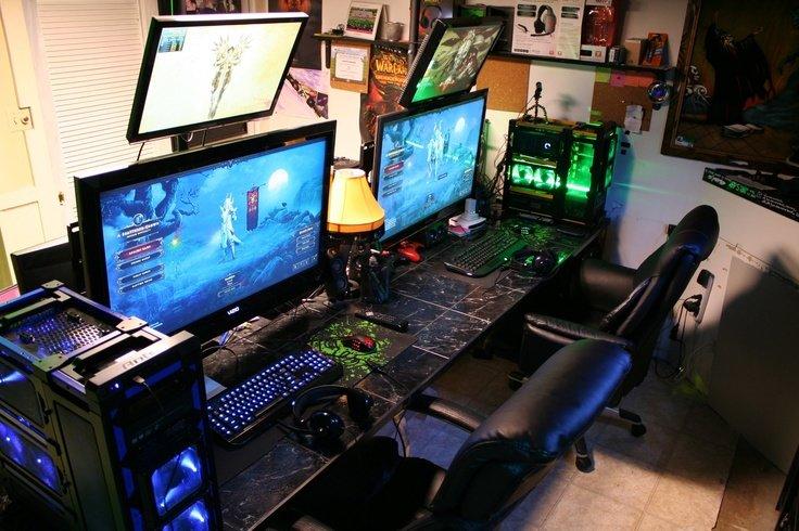 awesome pc gaming setups comp. Black Bedroom Furniture Sets. Home Design Ideas