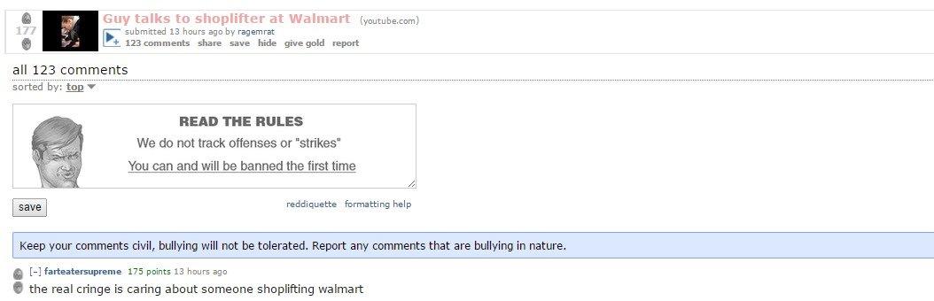 Reddit defends shoplifting