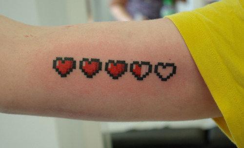 Game Tattoos Zelda Hearts Arm Tattoo