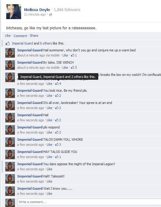 Imperial Guards invade Facebook