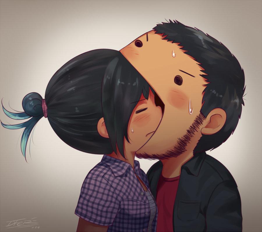 Картинки смешные поцелуев